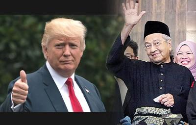 特朗普恭贺马哈迪出任首相(档案照)