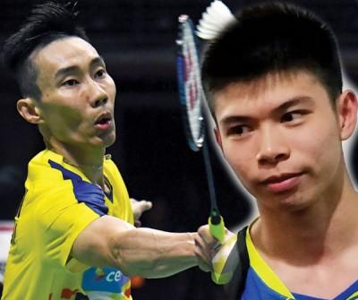 李宗伟(右)希望制造美好回忆。梁峻豪(左)出任第三单。