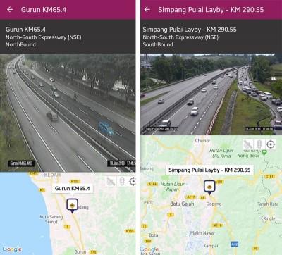 (左)吉打州本同通往莪仑休息站的路段交通阻塞。(右)霹雳州怡保至新邦布赖的交通情况缓慢。