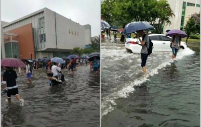海南多地以雨造成路面水浸的情。