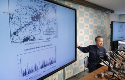 气象厅地震津波监视课长松森敏幸警告,未来数天或会出现大余震。(法新社照片)