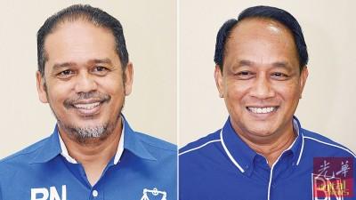 (左)沙希丹竞选巫统浮罗山背区部主席一职。(右)法力除了竞选浮罗山背区部主席一职,也竞选党中央最高理事会。