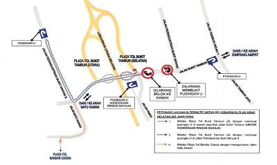 公共工程局即日起关闭高架桥底U转道路为期3个月,驾驶者欲从武吉淡汶进入南北大道(南下方向),需绕道Bandar Cassia收费站作为替代路线。