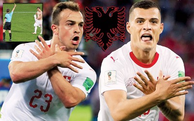 """沙奇里以及扎卡进球后召开""""阿尔巴尼亚的鹰""""手势,前者脱衣庆祝领黄牌。"""