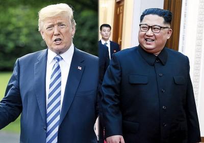 报道指特朗普(左)将在峰会上,要求金正恩(右)提交并承诺一个弃核时间表。(法新社照片)
