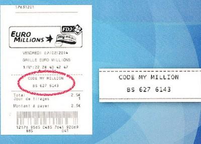 """每张欧洲百万彩彩票,都会有一组""""我的百万彩""""号码(红圈)。"""