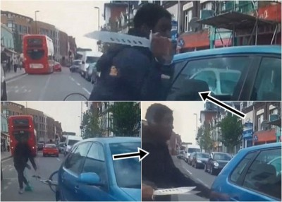 黑人脚车男无忿险遭撞倒,拔刀狂劈轿车。