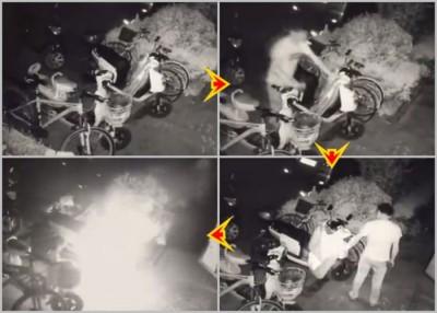 陶男排阻路的摩托车及脚车后,衷心来不甘又折返烧车。
