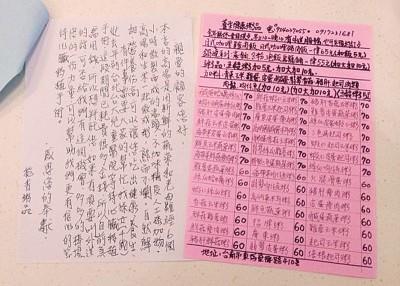 台南一家粥品店的菜单后夹了一封信,是店东为4岁孙女心脏移植筹款,遂呼吁顾客多多支持。