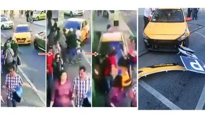 (左)网传片段显示德士铲上行人路时,旅客如从保龄球般被撞跌。(右)德士司机撞伤路人,并路标都撞断。