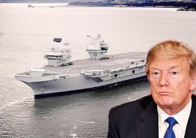 (左)美国总统特朗普下月访问英国。(右)伊丽莎白女王号是英国最新航母。