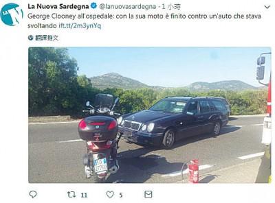 佐治古尼骑机车发生车祸,针对撞车辆的挡风玻璃明显可见撞击痕迹。