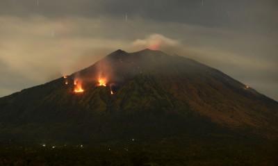 阿贡火山喷出大量岩浆,情景骇人。(法新社照片)