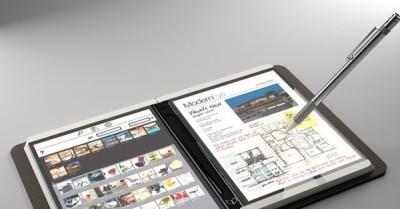 折叠式双萤幕行动装置概念图。