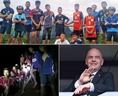 受困的泰国少年足球队,全数安全无恙。因凡蒂诺(右图)邀请「野猪队」看世界杯决赛。