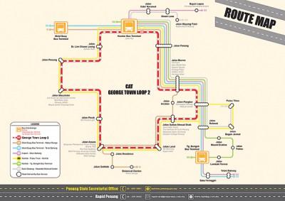 光大区乔治市先后2途径免费接驳巴士路线图。