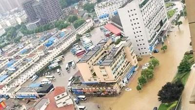 江西暴雨成灾,图为景德镇市。