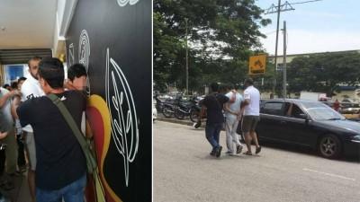 治安队成员以抓色魔时,敢地管色魔按在墙上。被捕男子随后被治安队成员送往威中警方处理。
