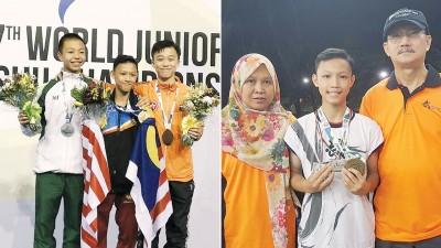 (左)达尼斯在巴西力压澳门和香港选手赢得世青冠军!(右)达尼斯展示世青赛奖牌,父母是他最大的动力。