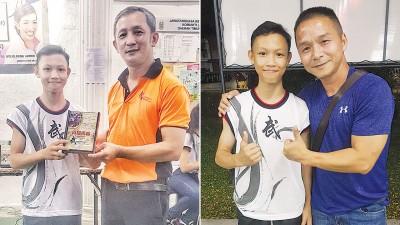 (左)张铭辉为他颁发纪念品。(右)州队教练覃干赞扬达尼斯是天才型运动员,拥有力量和速度,早前就看好他能扬威世青赛。