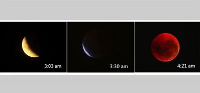 """这3张是最精彩的月食""""片段""""。"""