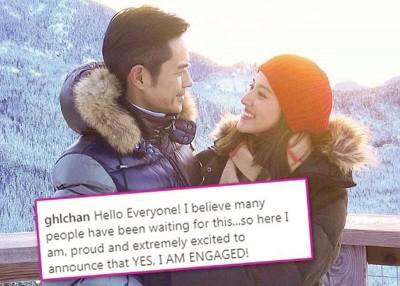 陈凯琳认了与男友郑嘉颖去年圣诞节就订婚。