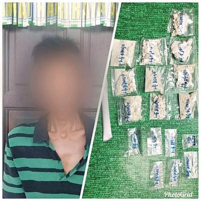 左图啊被捕的下毒跑腿,右图为从获的多少包海洛英及冰毒。(照取自脸书)