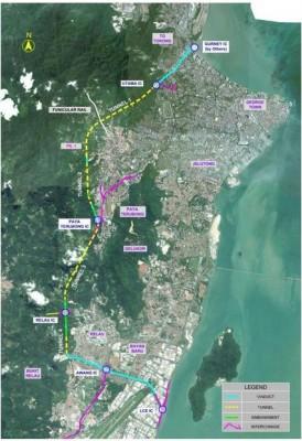 此图显示,全长20公里的第一泛槟岛大道,从新关仔角开始,途径太子路、然后经过槟岛市政厅公园、升旗山、垄尾、湖内及新港一带。