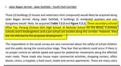 """lsy0711a06:报中显得,槟华女子中学、菩提独中、天尼古拉盲人院,峇眼惹玛路和歌德律一带3所小学与6所幼儿园都未为""""首先发槟岛大道""""工程影响。"""