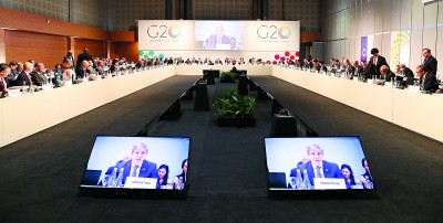 20国集团财长及中央银行总裁举行一连两天的会议,商讨经济及贸易课题。(法新社照片)