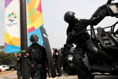 亚运会跫音逼近,印尼军警加紧反恐演习。