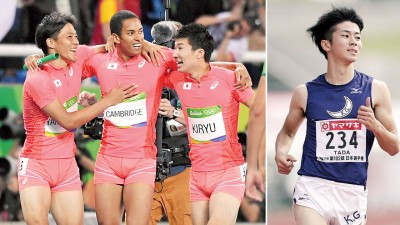 山县亮太(左)、剑桥飞鸟(左2)与桐生祥秀(左3)都经过里约奥运会和伦敦世锦赛的洗礼。多田修平(右)是目前日本男子百米9秒98全国纪录的保持者。