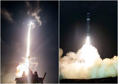 专业3种Block IIA导弹拦截器(左图)唯独对朝鲜的洲际弹道导弹(右图)。