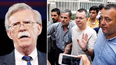 白宫国家安全顾问博尔顿(左图)会土耳其驻美国大使,座谈牧师布伦森(右图中)的动静。