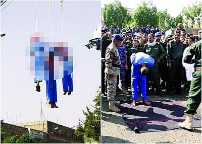 罪犯被枪决后,尸体被吊起示众。