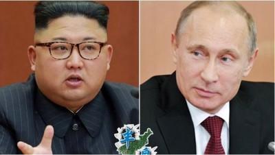 金正恩(左图)跟普京(右图)彼此发出贺电。