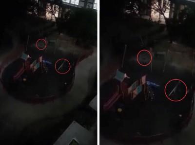 医院里儿童游乐场的秋千和跷跷板无风自动。(视频截图取自Penduduk Alor Setar / Jitra (PASJ)群组)