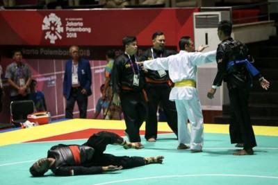 大马选手罗比尔因对手落地后仍为对阵的新加坡选手谢菲道尔补上同下,使得对方在地上痛苦翻滚。