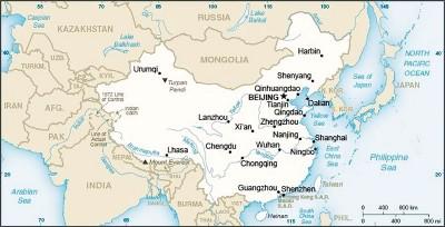 以中华简介页面的地图上,中华及台湾均因浅米色标记。