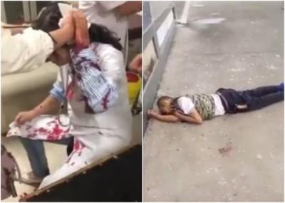 女医生(左)头部受伤,其他医护人员即场为她急救,涉案男子(右)则爬窗坠亡。