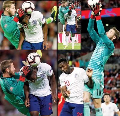 审美西班牙门将德赫亚与英格兰球员维尔贝克之人身碰撞画面,若认同判罚吗?
