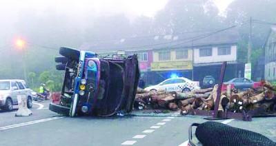 树桐散满道路,造成来往华玲及双溪大年方向车主受困车龙阵,怨声载道。