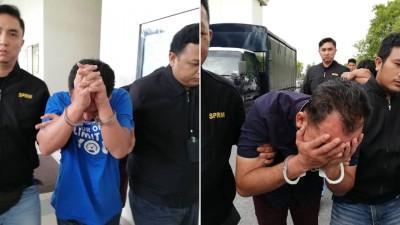 (左)涉嫌索贿的48岁嫌犯被押上亚罗士打法庭申请延扣。(右)46岁嫌犯被押离法庭时一直低头避开摄影镜头。