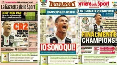 C罗在意甲联赛连中双头,意大利媒体对那大加赞誉。《罗马体育报》、《都灵体育报》同《米兰体育报》纷纷头版报道了C罗的进球。《米兰体育报》将C罗的标志CR7变成了CR2。