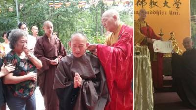 刘子贤于去年在文冬大马第一丛林剃度出家。