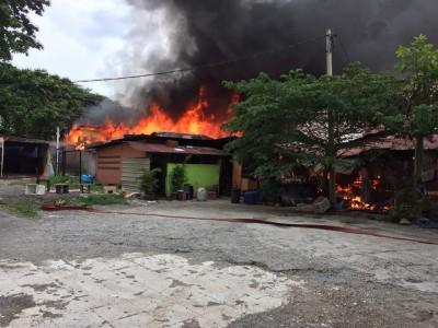 一间露天餐馆与6间木屋发生大火。