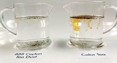加了色素的茶粉(右)当2秒内虽会渗出颜色。