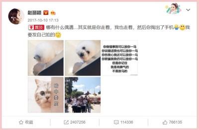 赵丽颖把2017年的发文重新置顶。