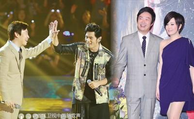 (左图)周杰伦(右)曾和费玉清合唱《千里之外》。(右图)江蕙(右)与费玉清有多年情谊,先后宣布引退。