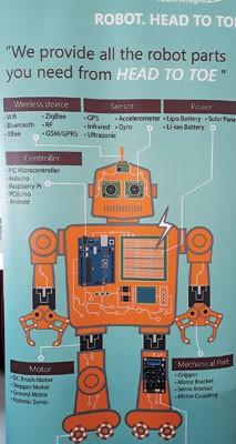 机械人身上的电板零件多,发明人要配合齐全。
